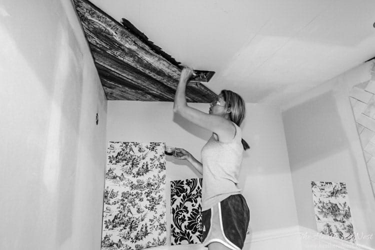 how to install a DIY wooden ceiling tutorial www.heatherednest.com