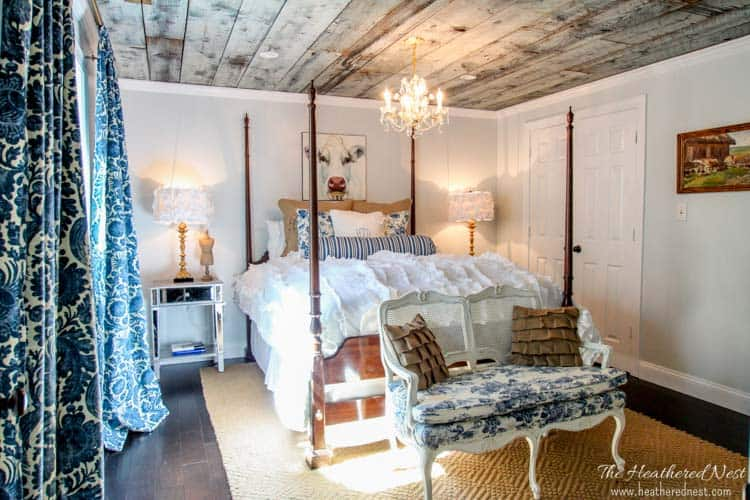 GORGEOUS country style guest bedroom/DIY bedroom from www.heatherednest.com