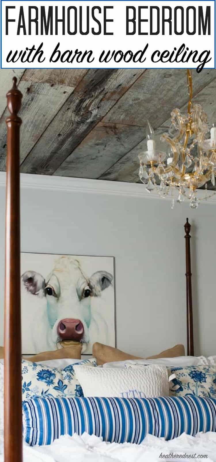 GORGEOUS! Farmhouse bedroom/guest room at heatherednest.com with toile settee, mini chandelier and reclaimed wood ceiling. Love all the DIY and rustic elements!