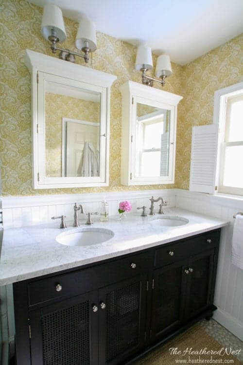 DIY bathroom marble double vanity and paisley wallpaper www.heatherednest.com