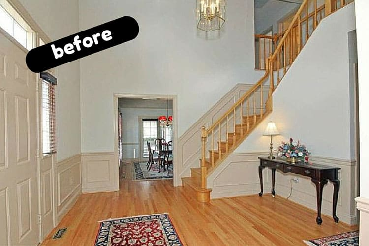 Diy foyer with glass chandelier aka bubble bubble toil and dark wood white trim bubble chandelier foyer makeover at heatherednest aloadofball Choice Image