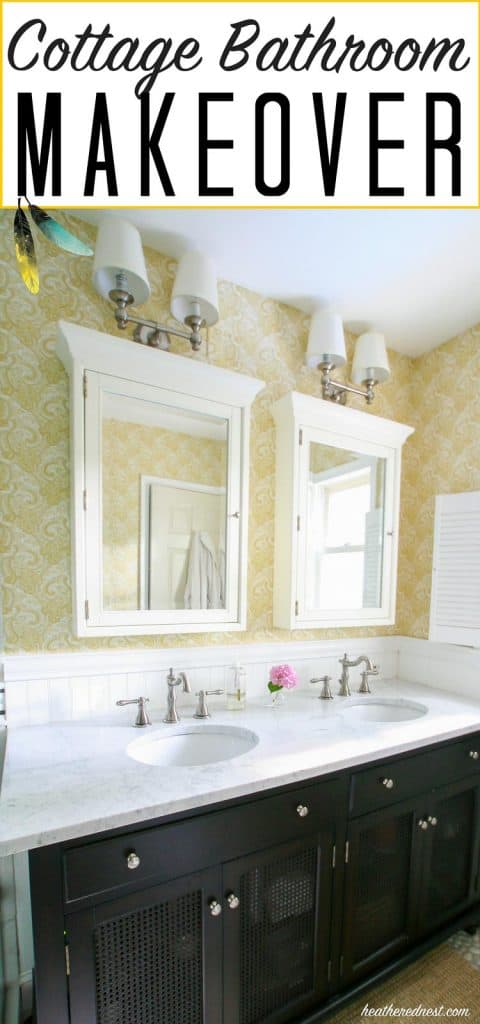 cottage bathroom | farmhouse style bathroom makeover from heatherednest.com love the yellow paisley wallpaper and pebble tile!!