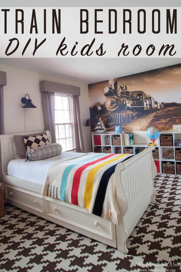DIY Train bedroom for kids! OMG this is PERFECT for my son who LOVES trains and all kinds of vehicles and transportation things :) #trainbedroomforkids #DIYtrainbedroom #trains #DIYroom #DIYbedroom #boysbedroomideas #boysdiybedroomideas #trainlover