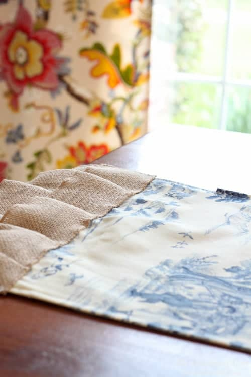 Toile and burlap table runner