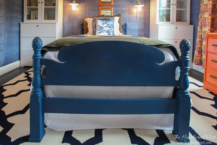four poster bed thriftscore painted in Annie Sloan Napoleonic blue from heatherednest.com
