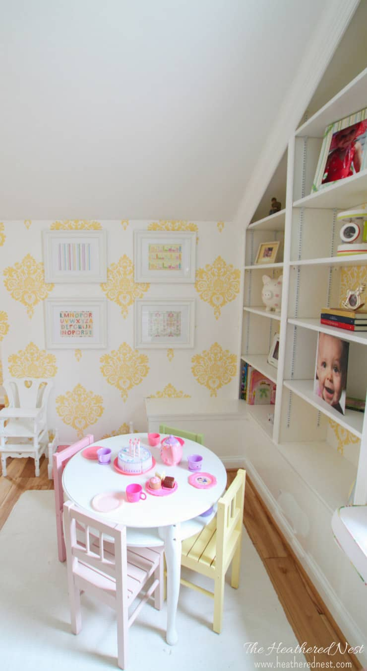 damask wallpaper girl's room from www.heatherednest.com LOVE this girls room that's NOT ALL PINK!!!