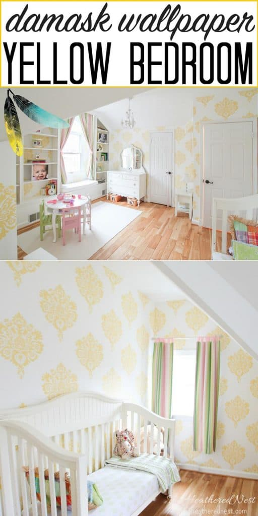 Gorgeous yellow bedroom with damask wallpaper! Such a pretty girls bedroom makeover! #yellowbedroom #girlsbedroom #kidsbedroomideas #kidsbedroomideas #wallpaperbedroomideas