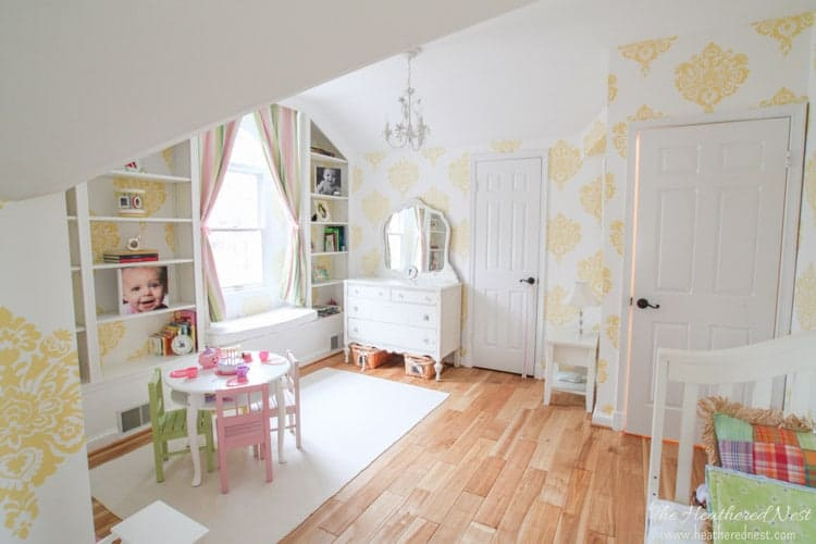 yellow damask wallpaper girl's room, room ideas for girls from www.heatherednest.com