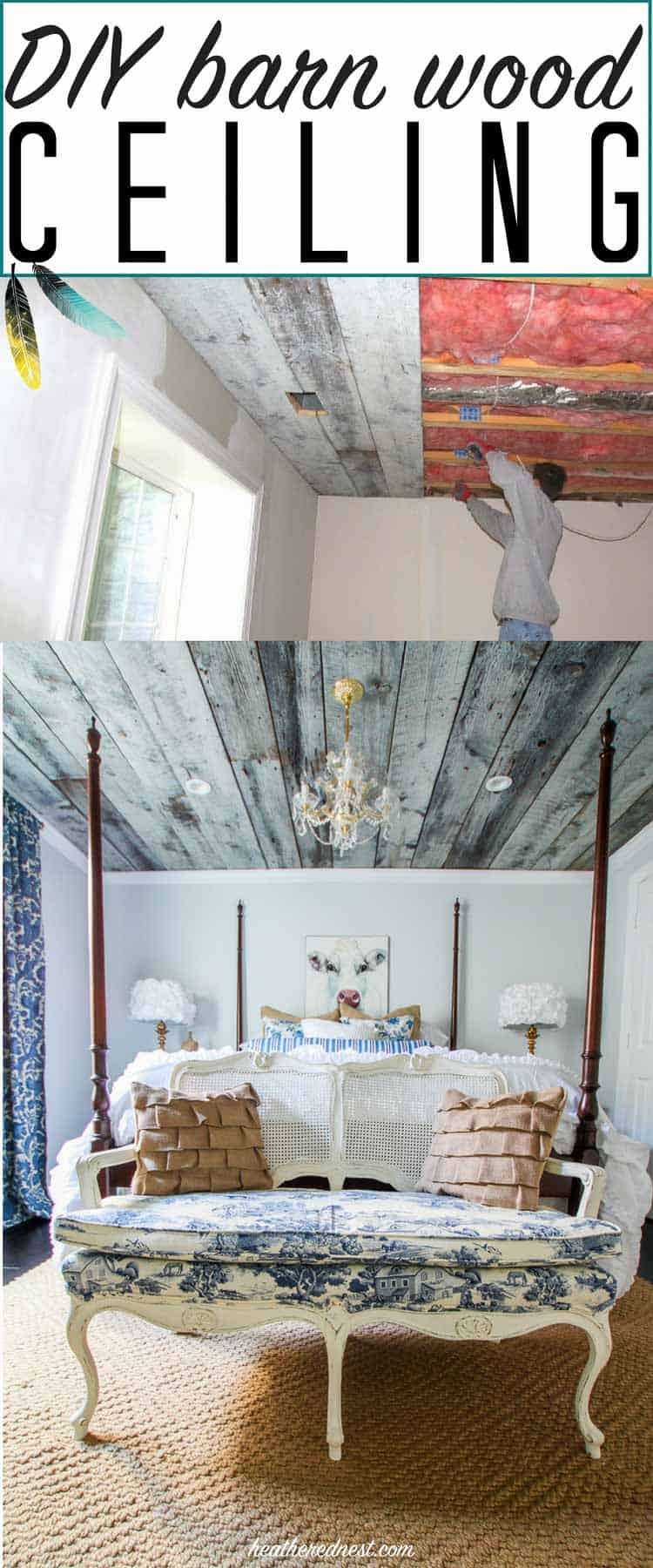 Oh, what a feeling, we got a barn board wooden ceiling ...