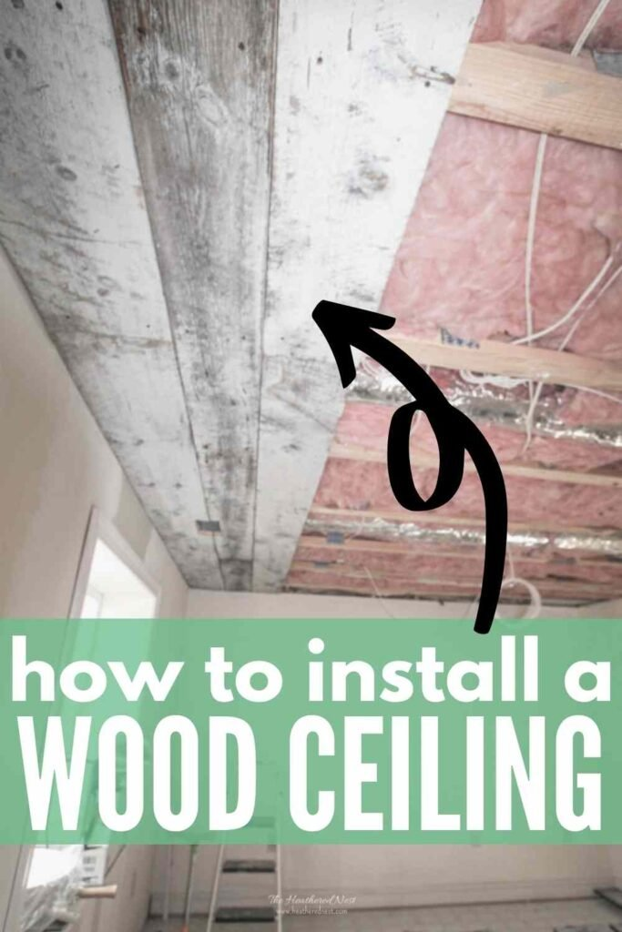"""partially completed reclaimed wood ceiling installation. text """"how to install a wood ceiling"""""""