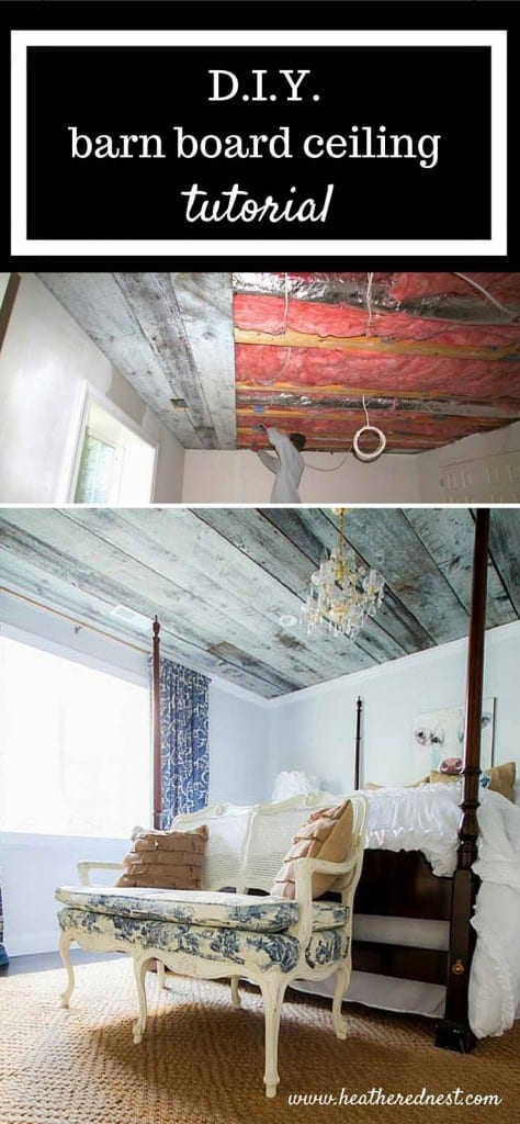 during installation process and after - reclaimed barn wood ceiling in a bedroom