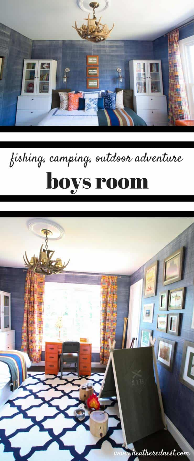 fishing camping outdoor adventure boys room from www.heatherednest.com