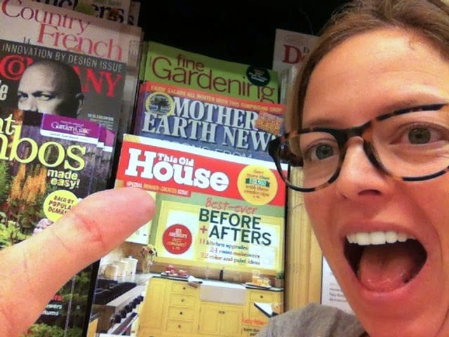pointing to This Old House magazine on the store shelves