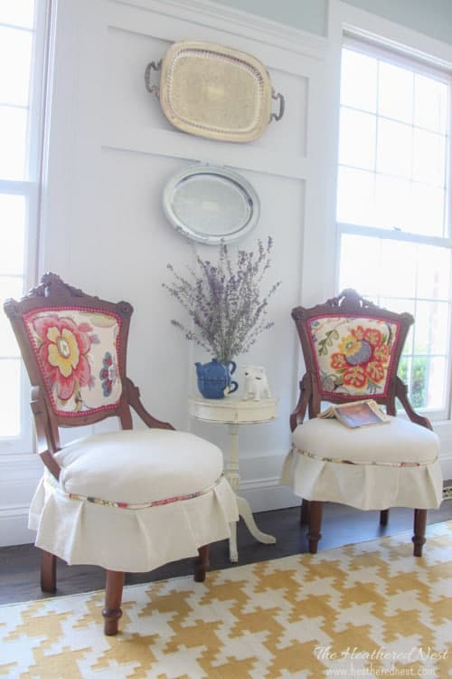 how to reupholster a chair - our french canadian chair makeover from www.heatherednest.com