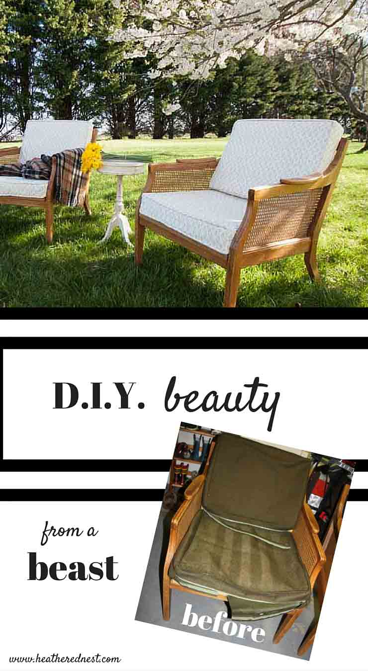 WOW! What a fantastic and INEXPENSIVE trash to treasure DIY project!!! A mid-century modern chair repair and DIY upholstery project from www.heatherednest.com