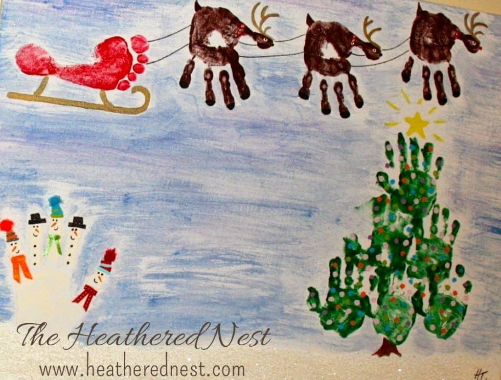 DIY handprint Christmas canvas idea