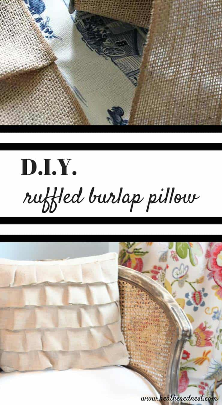 SO PRETTY! Easy DIY pillows with burlap ruffles from www.heatherednest.com