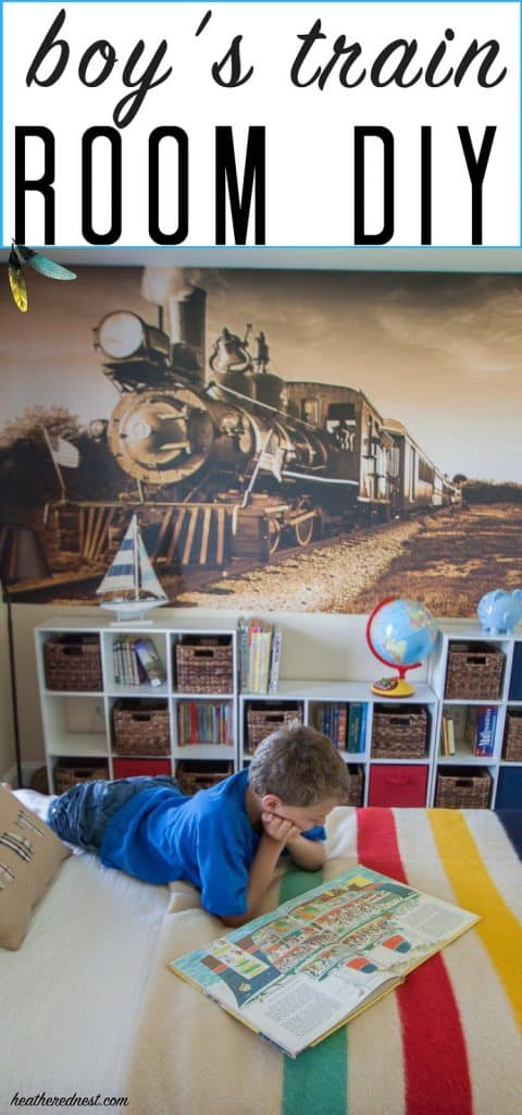 boys DIY room with transportation and train theme from heatherednest.com