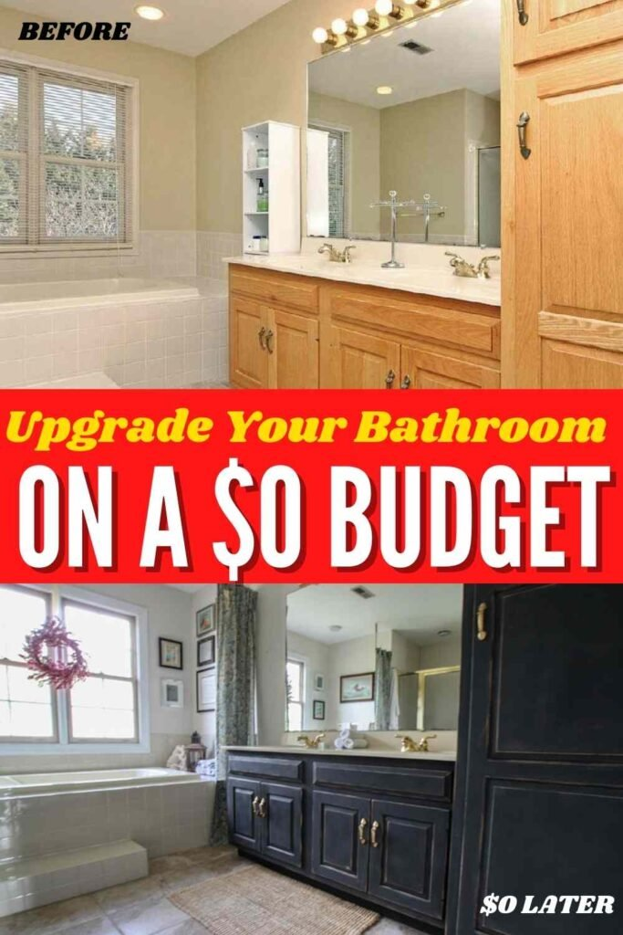 """before and after of a bathroom: """"Upgrade your bathroom on a $0 budget"""""""