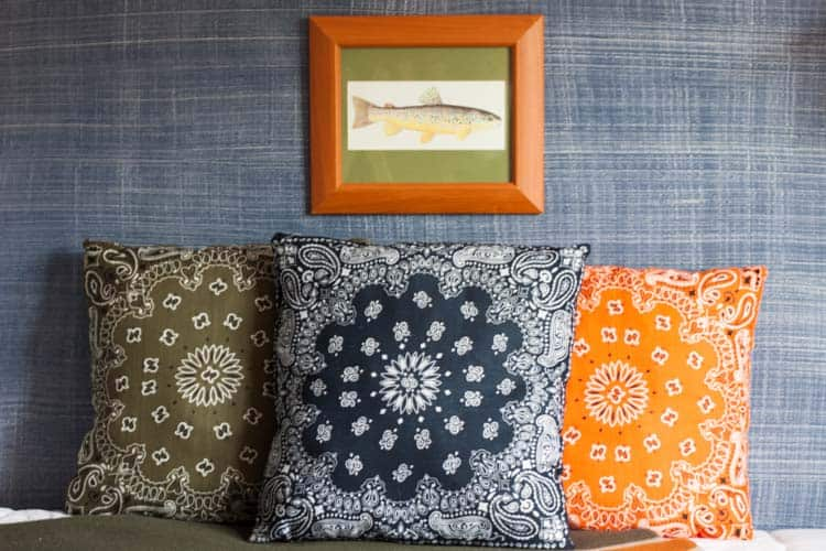 We're going Bandanas! DIY Dollar Store Bandana Pillows.