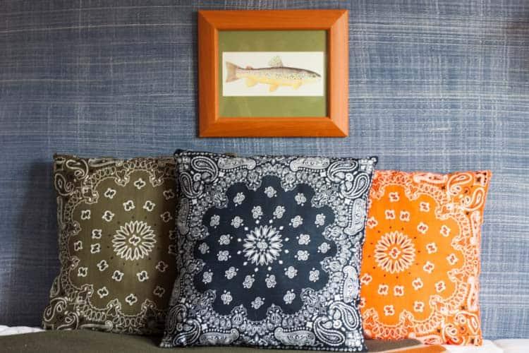 We're going Bandanas! DIY Dollar Store Bandana Pillows.