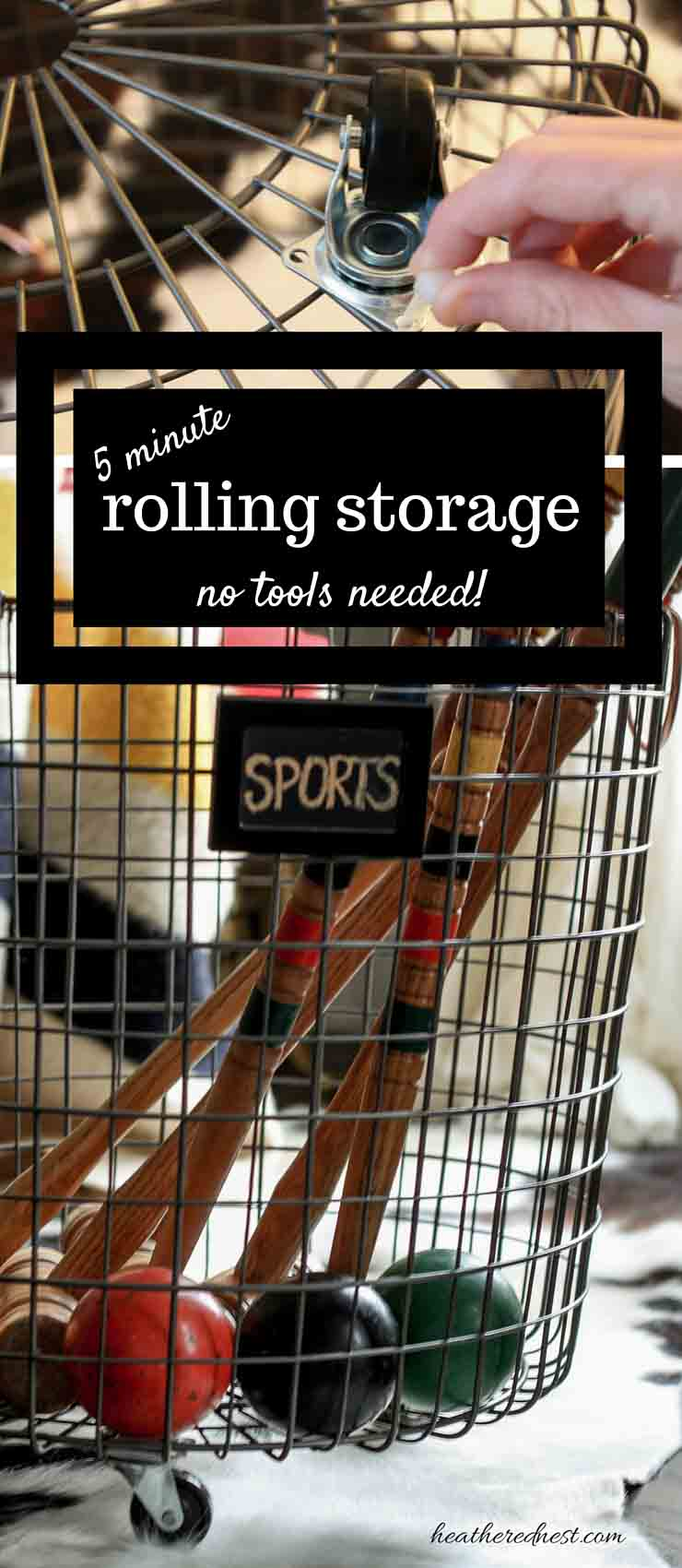 DIY storage solution in 5 minutes, no tools! You've GOT to try this SUPER EASY, fast DIY! GREAT for toys/sports equipment!! from www.heatherednest.com