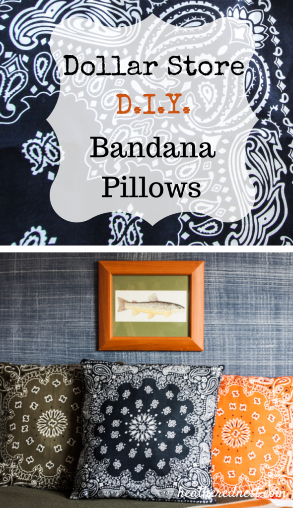 Pop over now to check out these quick, easy and INEXPENSIVE Dollar Store Bandana Pillows! Add a pop of color to any room in your house! Popular & affordable DIY bandanna pillows! Great for indoors or outdoors. #bandana #bandanacrafts #bandanapillow #bandanapillows #dollarstorecrafts #dollarstore #dollartree #easypillows #bandanacraft #bandanna