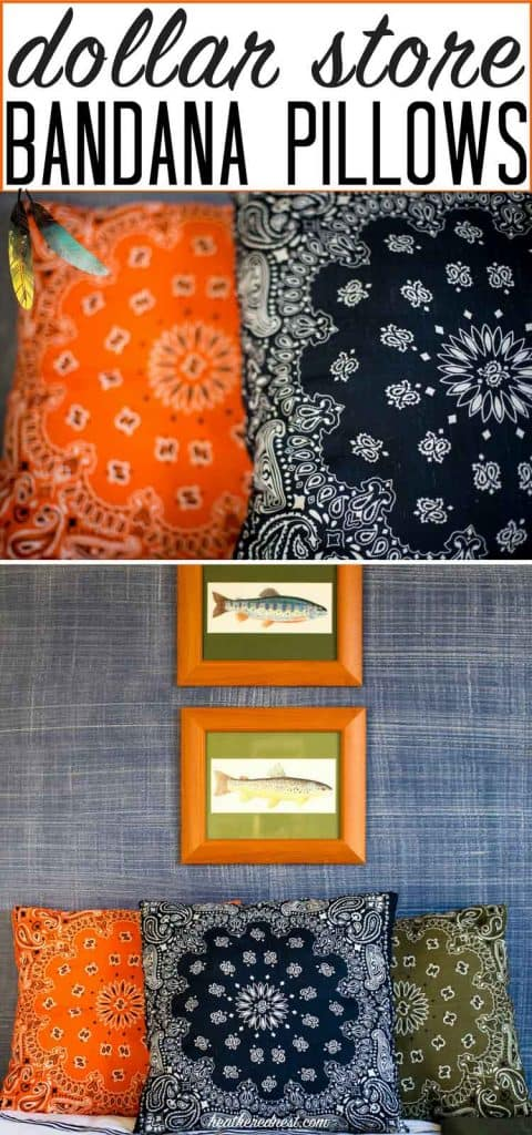 Popular & affordable DIY bandana pillows! Great for indoors or outdoors. Seen in her son's fishing/camping/outdoor adventure boy's bedroom #bandana #bandanacrafts #bandanapillow #bandanapillows #dollarstorecrafts #dollarstore #dollartree #easypillows #bandanacraft #bandanna