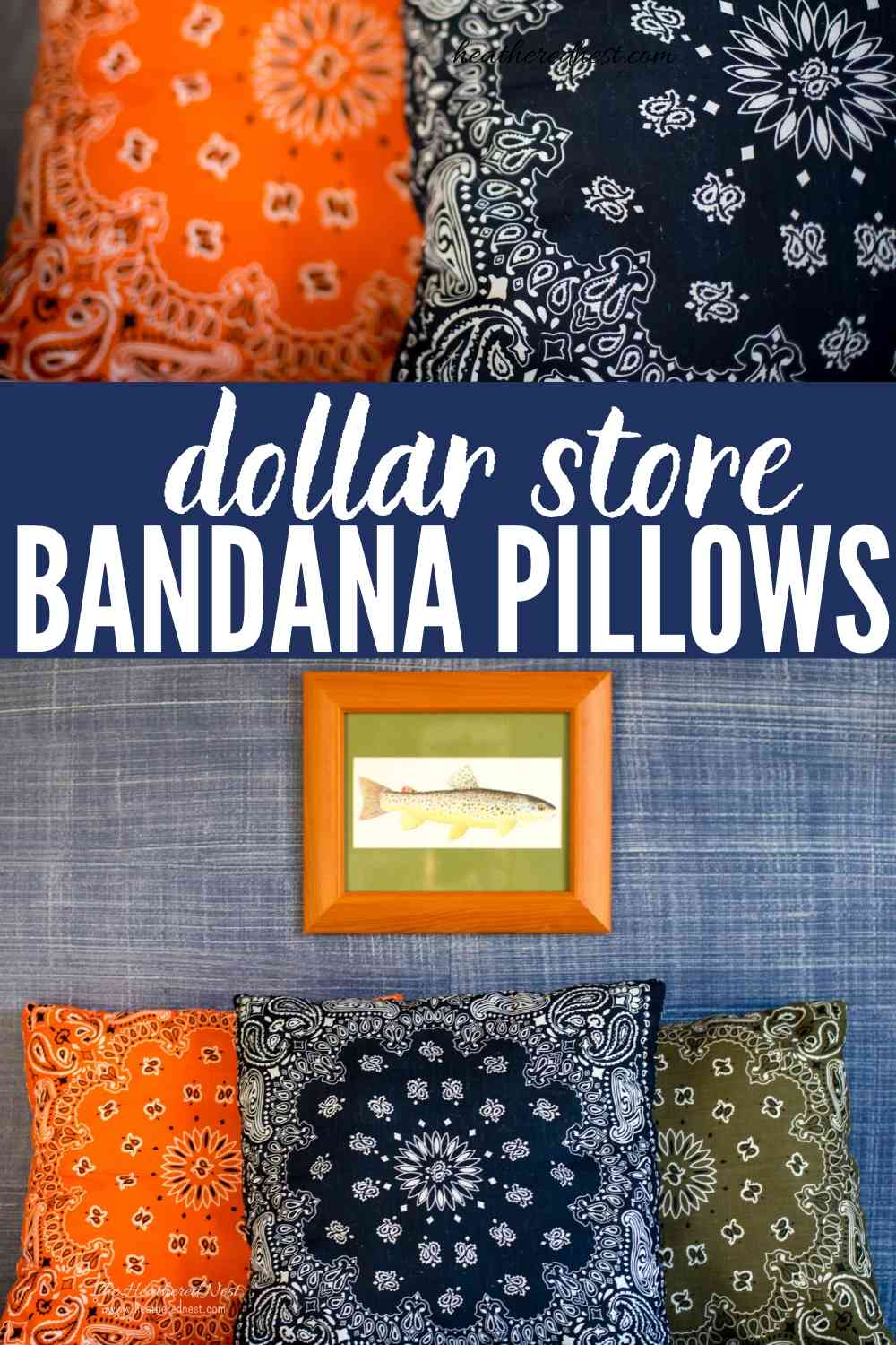 Popular & affordable DIY bandana pillows! Great for indoors or outdoors