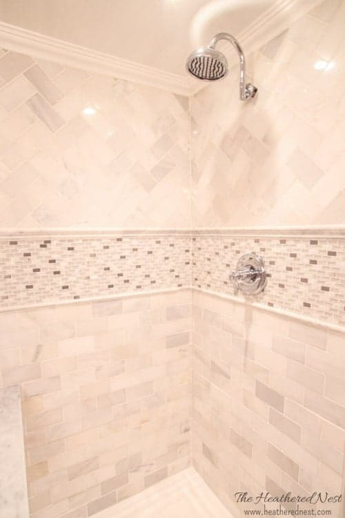 heathered-nest-dungeon-bathroom-makeover-gray-and-marble-tile-beadboard-ceiling