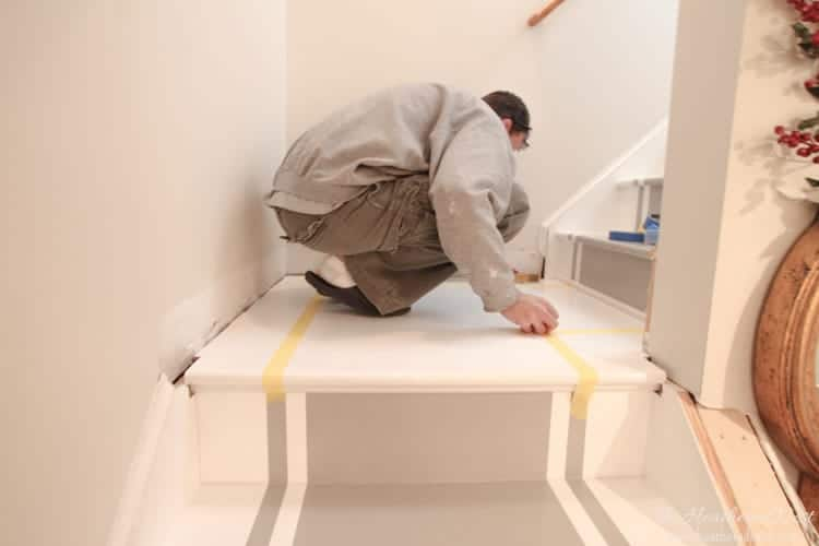 If you need an inexpensive solution for outdated stairs...PAINT!!! Check out this DIY painted staircase from www.heatherednest.com