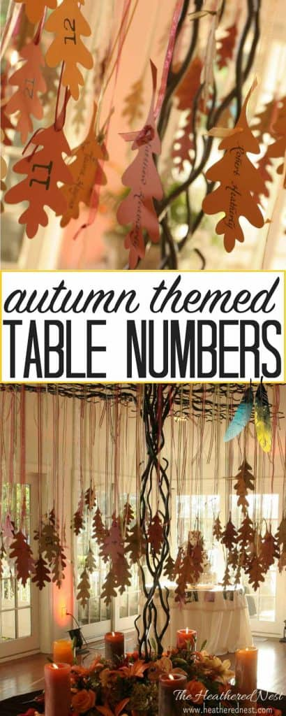 GORGEOUS and budget-friendly DIY wedding details. LOVE these autumn leaf table numbers hung on a beautiful wrought iron tree. Sources and supplies in this post from heatherednest.com