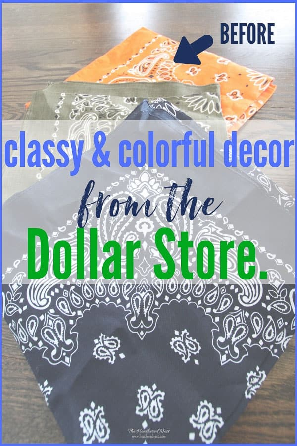 Classy & colorful home decor...from the Dollar Store?? YES!!! Check these out!!!! #bandana #bandanacrafts #dollarstorecrafts #dollarstore #dollartree #easypillows #bandanacraft #bandanna