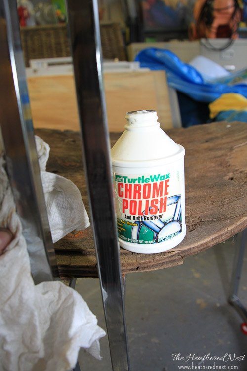 bottle of chrome polish sitting on a chrome chair being renovated