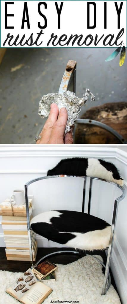 This is AMAZING!! Never thought to try this. And it's basically FREE!! WOW. Gotta save this rust removal DIY technique. #howtoremoverust #rustremoval #howtogetridofrust #rust #howtorepairrustedfurniture #rustedfurniture