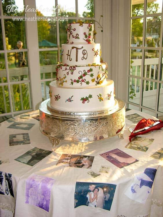 DIY photo tablecloth for wedding cake table
