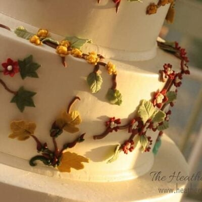 wedding cake with colorful icing flowers