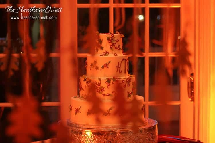 wedding cake in the evening
