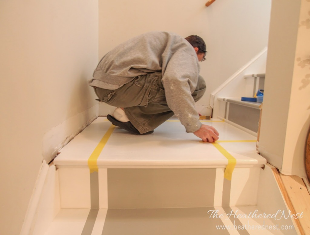 heathered nest painted stair makeover