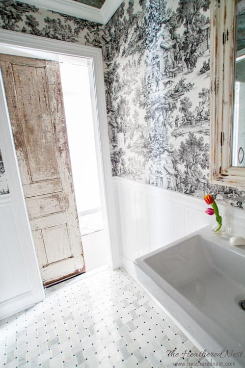 GORGEOUS DIY Bathroom/french Country Bathroom Via Www.heatherednest.com  With Toile,