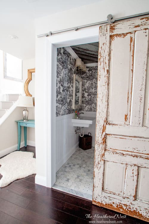 GORGEOUS DIY bathroom/french country bathroom via www.heatherednest.com with toile, barn board ceiling, vintage door!!