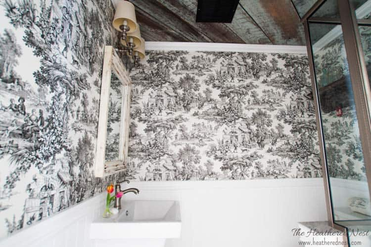 GORGEOUS DIY bathroom/french country bathroom via www.heatherednest.com with toile, barnboard ceiling, vintage door!!