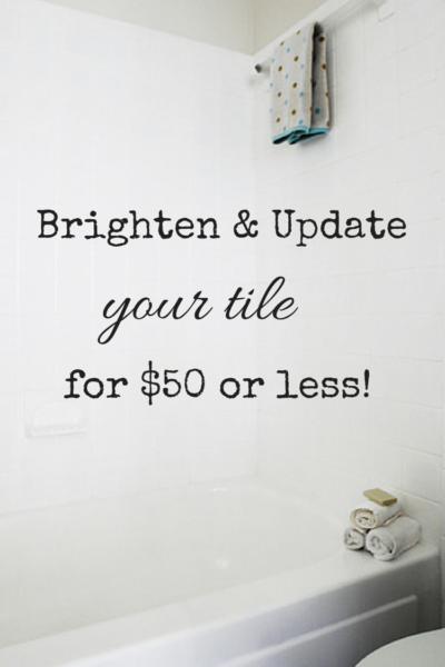 Outdated tile? DIY UPDATE for $50 or less - It's EASY! Can you paint tile? YES and here's how! Tutorial, Supplies & DIY Tips #canyoupainttile #howtopainttile #tileupdate #tilepaint #tilepaintbathroom #tilepaintingbathroom #tilepainting