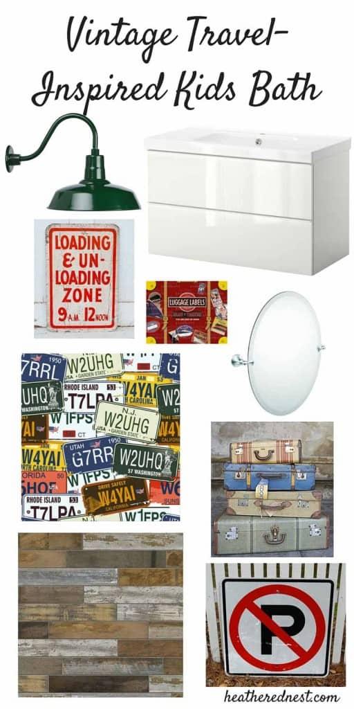 DIY bathroom, kids bathroom mood board www.heatherednest.com an $1800 bath remodel!!! WHAT??!?!