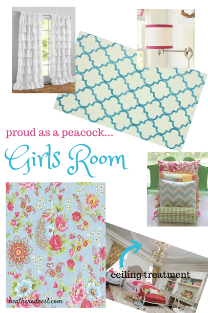 Heathered Nest girls room DIY mood board with Peacock wallpaper, trellis rug, and medallion ceiling treatment