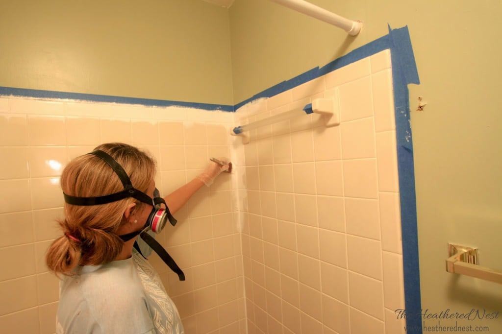 Painting Bathroom Tile Board can you paint tile? how we brightened our bathtub on a budget