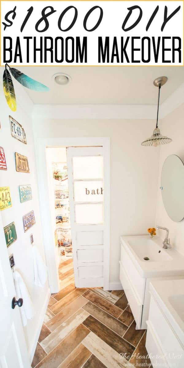 LESS THAN $2000 Fully Renovated Kids Vintage Transportation-Inspired Bathroom - Check it out now! #woodtilefloor #woodtilebathroom #bathroomideas #bathroomdecorideas #bathroomremodel #kidsbathroom #kidsbathroomideas #DIYbathroom #bathroommakeover #bathroomideasonabudget #bathroomfloor #bathroomthemes