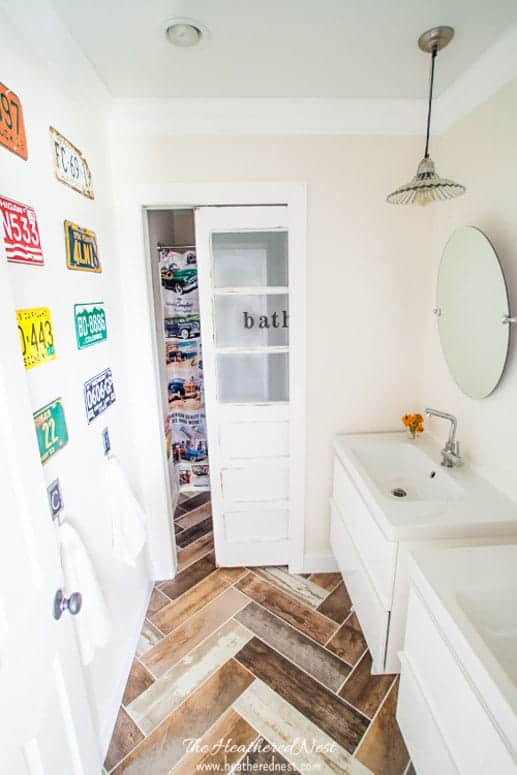 LESS THAN $2000 Fully Renovated Kids Vintage Transportation-Inspired DIY Bathroom!