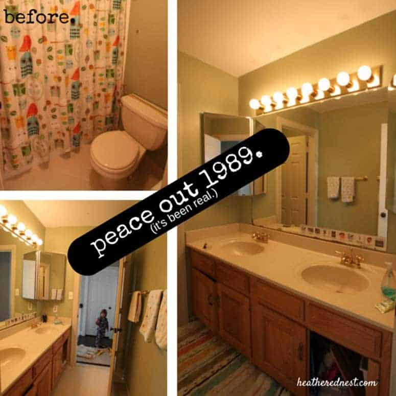 BEFORE montage of our $1800 kids bathroom makeover. BEFORE it was a traditional hall bathroom with double oak vanity, hollywood style light fixture and almond 4x4 tile