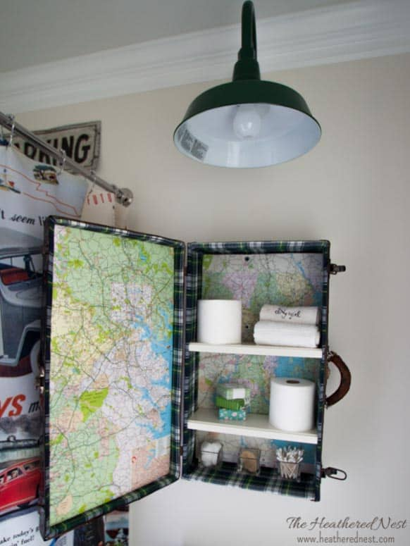 A vintage suitcase upcycle project seen in this kids' bathroom DIY remodel